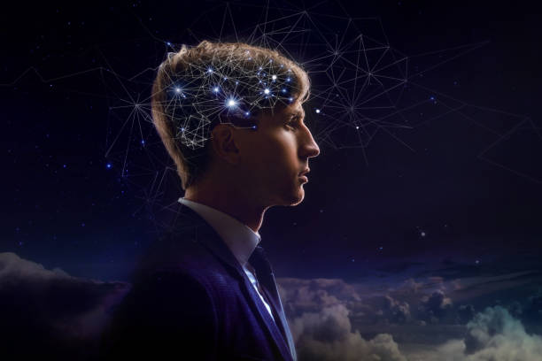 Profile of man with symbol neurons in brain. Thinking like stars, the cosmos inside human Profile of man with symbol neurons in brain. Thinking like stars, the cosmos inside human, background night sky neurotransmitter stock pictures, royalty-free photos & images
