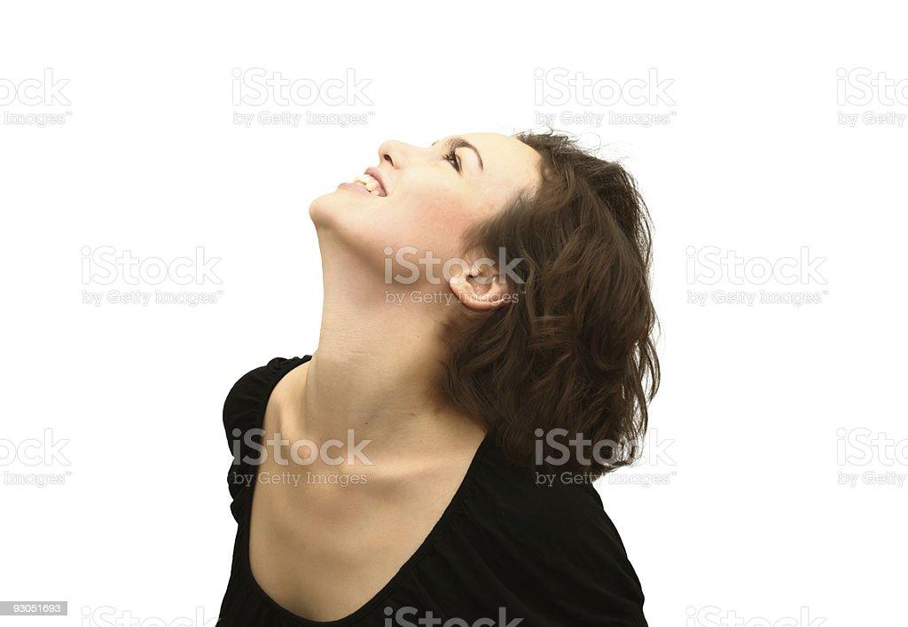 Profile of smiling beautiful woman stock photo