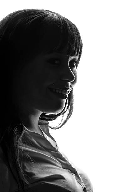 Perfil de Mujer sonriendo - foto de stock