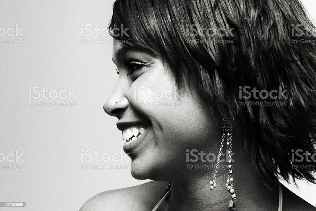 Profile of Smiling Young Woman royalty-free stock photo