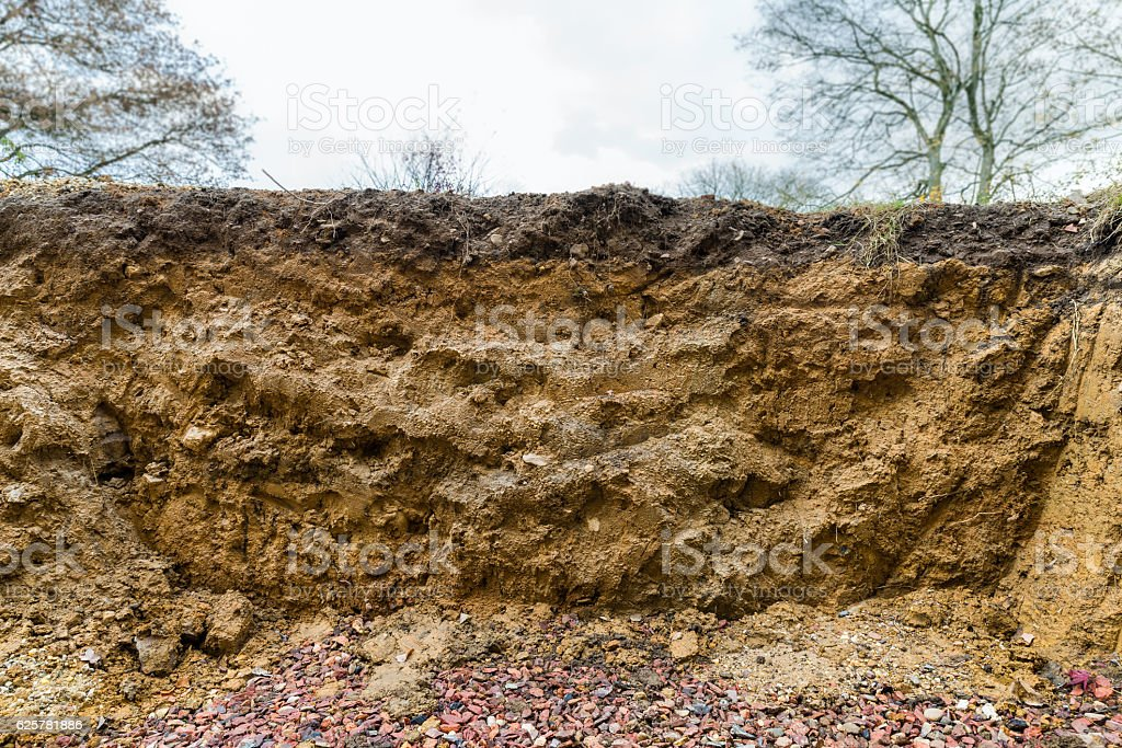 Profile of spoil displaying ground stock photo