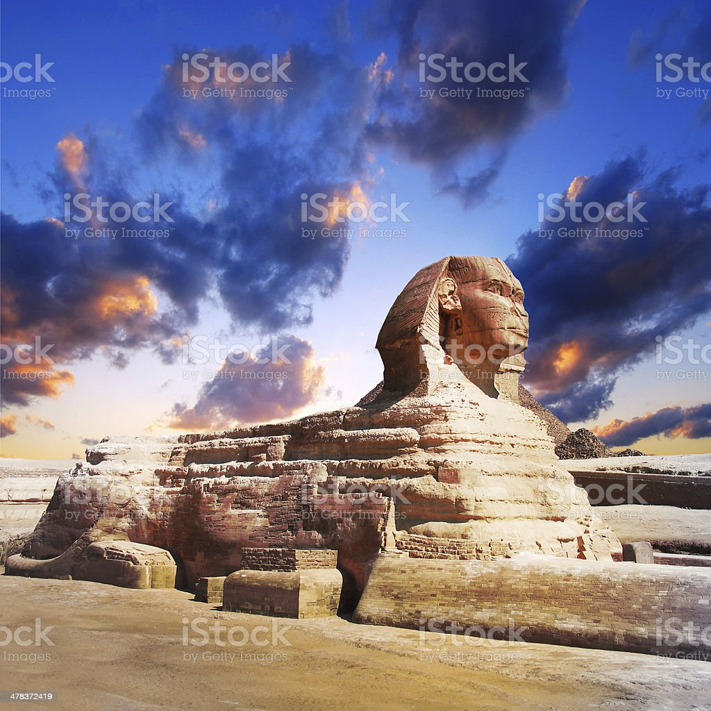 profile of the Great Sphinx , giza egypt stock photo