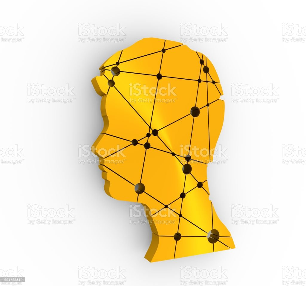 Profile of the head of a man. Brochure template stock photo