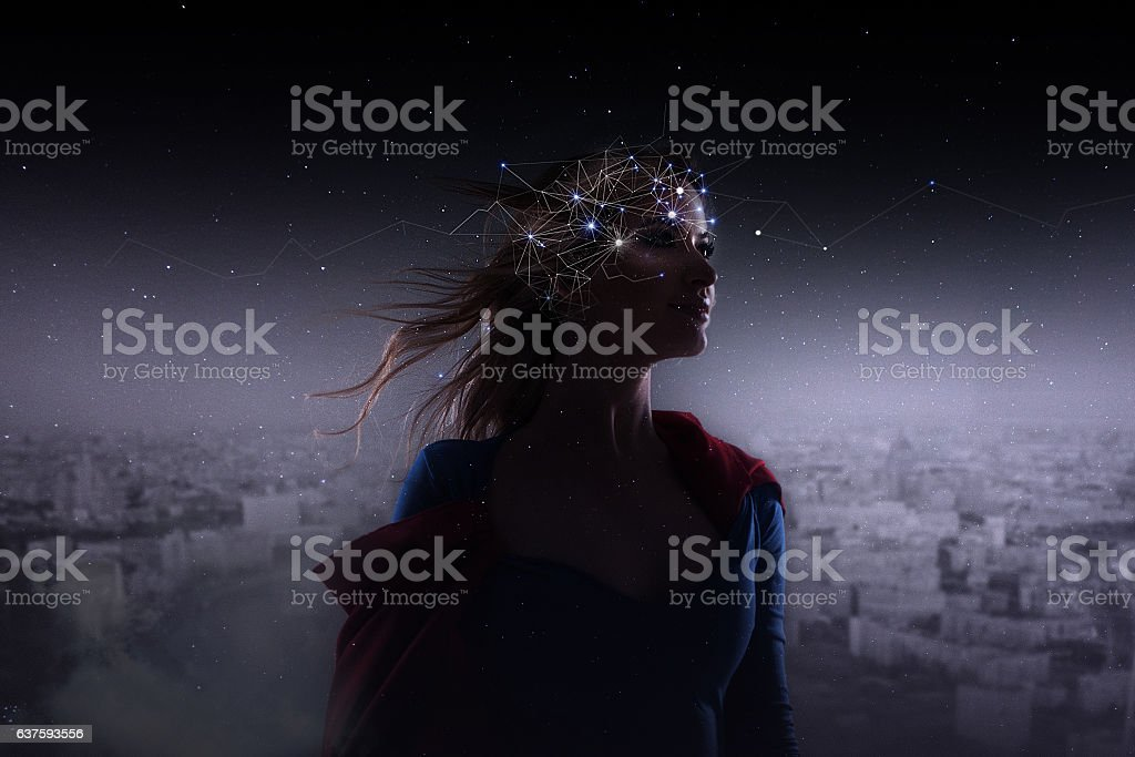 Profile of young attractive woman with symbol neurons in brain stock photo