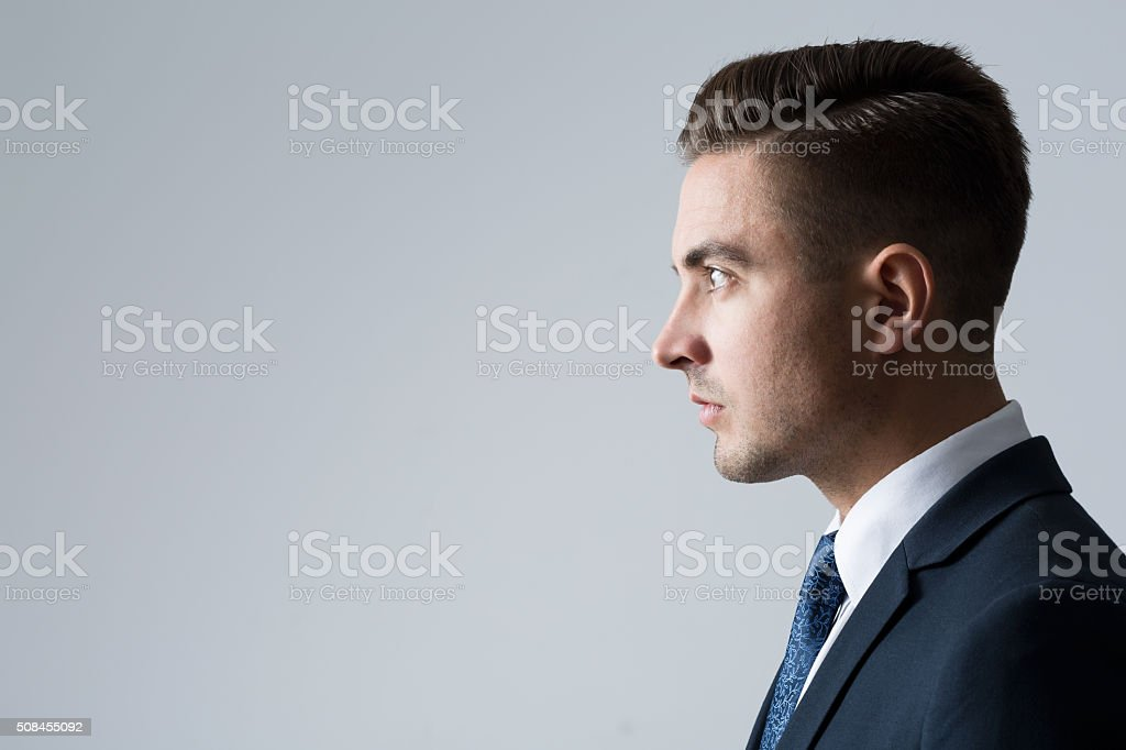 Profile of young businessperson stock photo