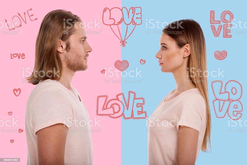 Photo Libre De Droit De Profil De Jeune Couple En Amoureux Banque