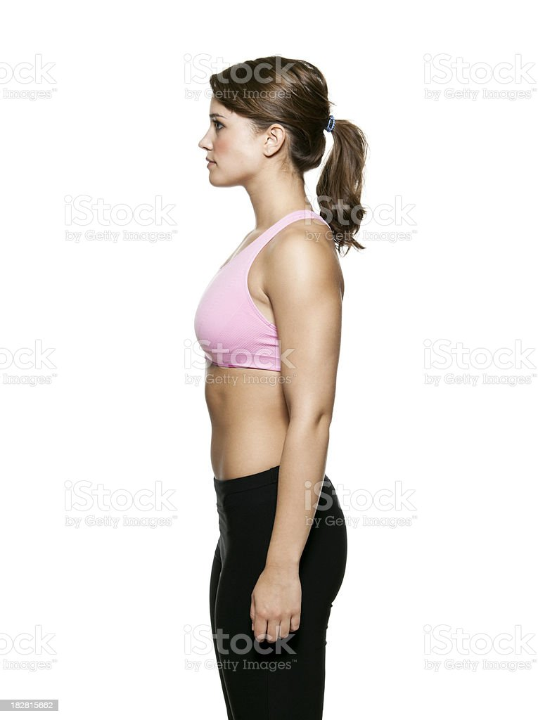 Profile of Young Woman in Fitness Clothing royalty-free stock photo