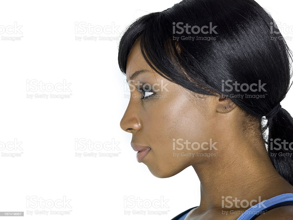 Profile picture of an afro-american woman stock photo