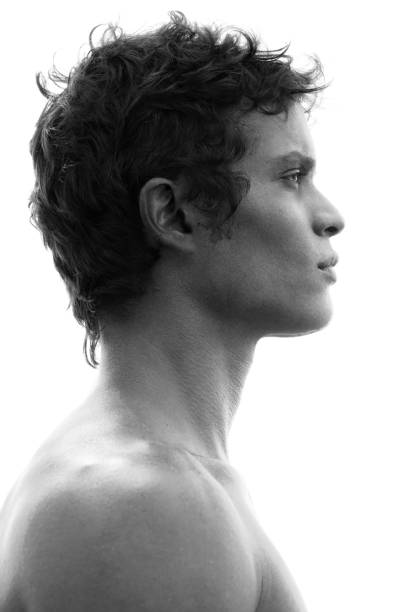 Profile portrait of a fit, bare-chested man with black hair and strong features stock photo