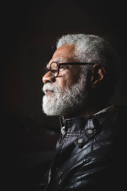 Profile portrait of a senior man with white beard Profile portrait of a senior man with white beard profile view stock pictures, royalty-free photos & images