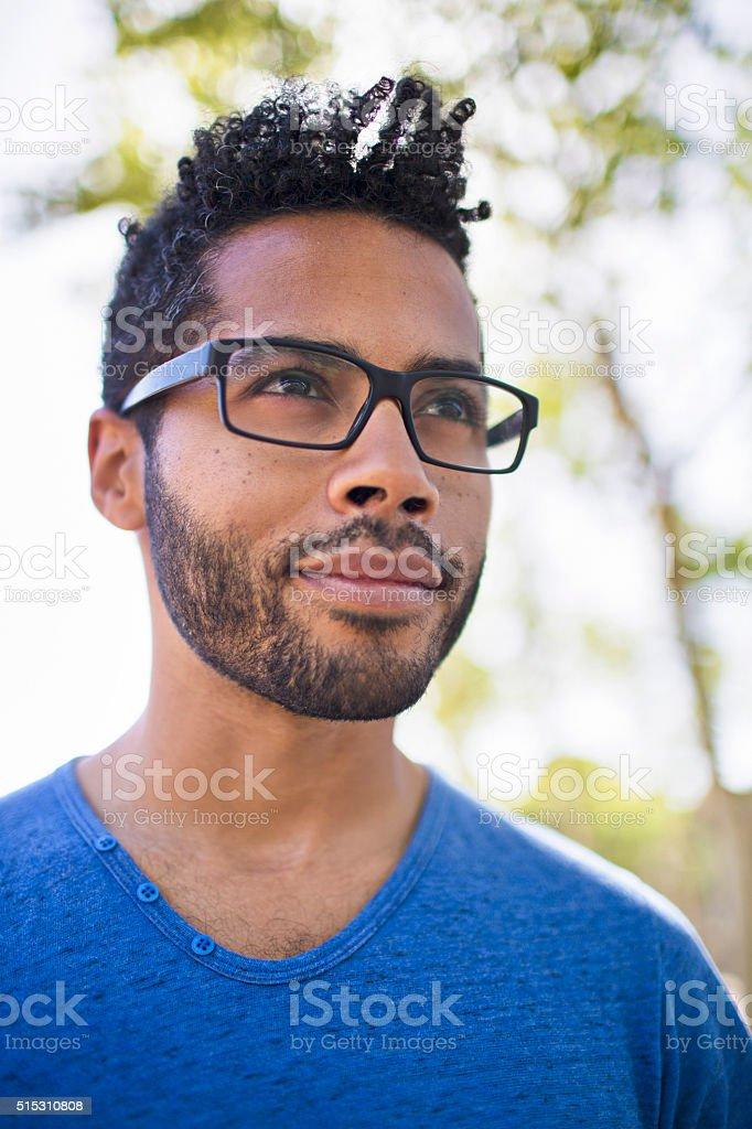 Profile portrait of a serene man stock photo
