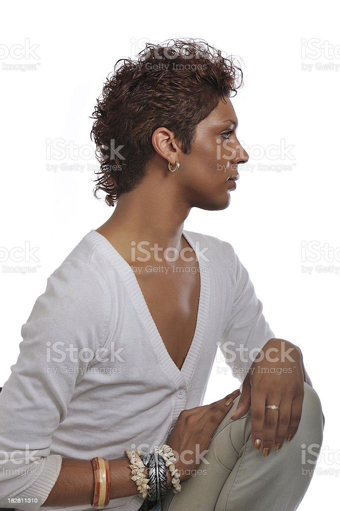 Profile portrait of handsome gay man stock photo