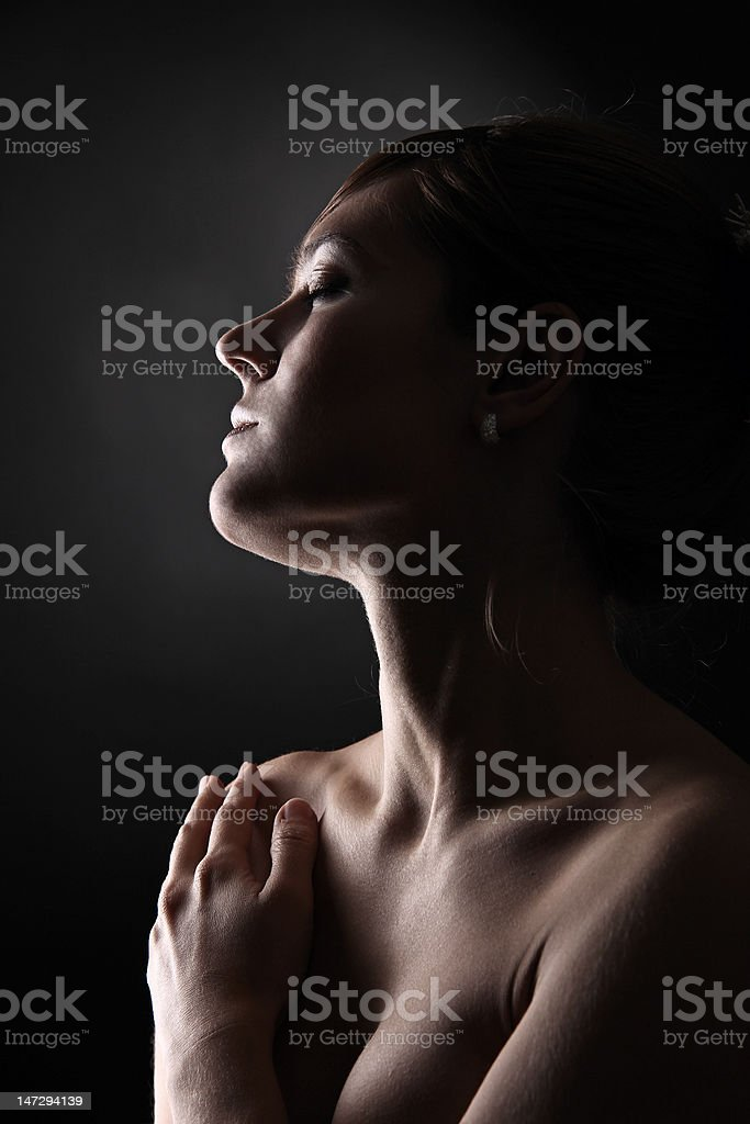Profile portrait of young woman royalty-free stock photo
