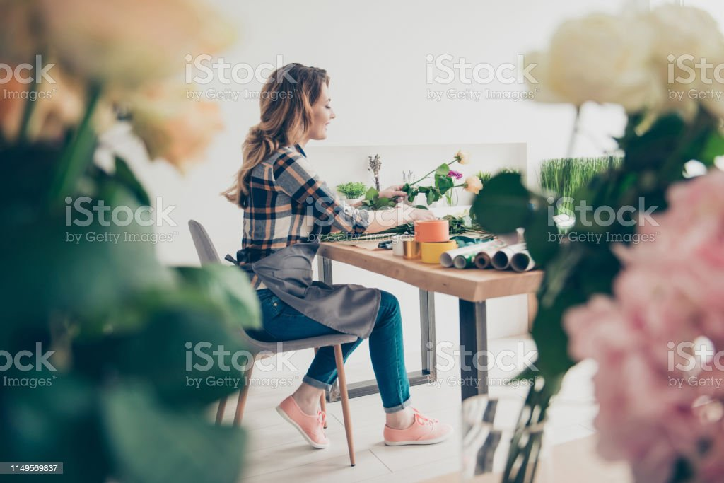 Profile Side View Photo Positive Cheerful Satisfied Beautiful Lady Make Deliver Fingers Sit Chair Furniture Gift 8march 14february Natural Botanical Art Craft Curly Hair Trendy Stylish Shirt Studio Stock Photo Download