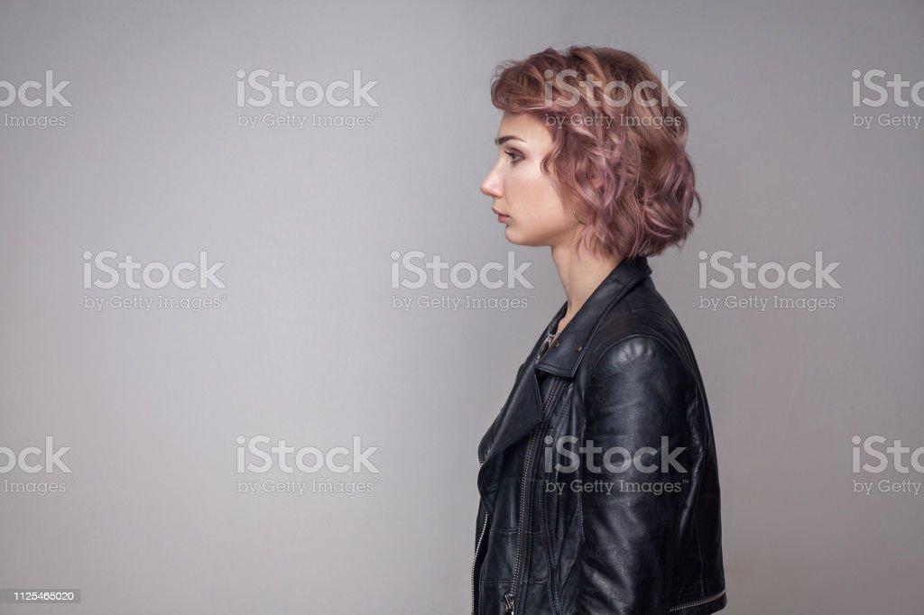 Profil Seite Ansicht Porträt Von Ernst Schöne Mädchen Mit