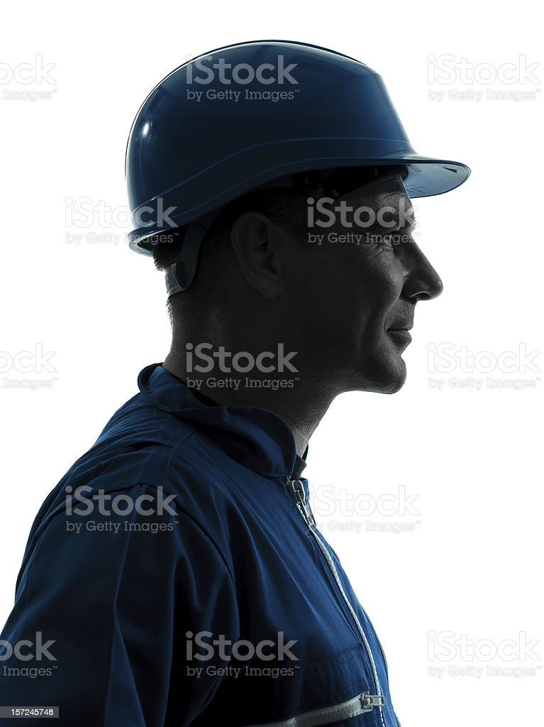 Profile silhouette portrait of construction worker man royalty-free stock photo