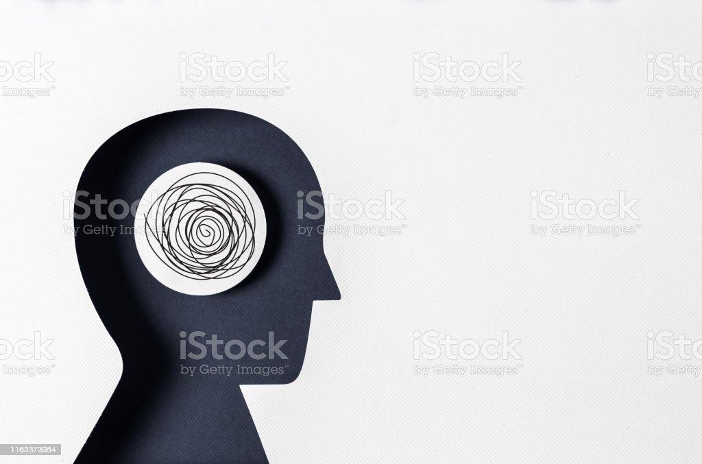 프로필 보기 및 정신 질환 - 로열티 프리 두통 스톡 사진