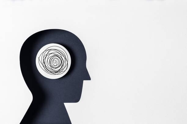 profilansicht und psychische erkrankungen - psychisches problem stock-fotos und bilder