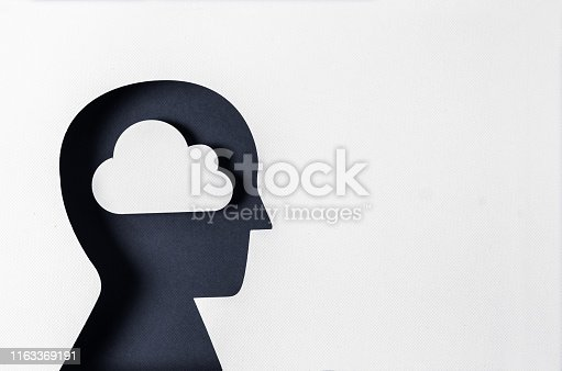 istock Profile view cloud and day dreaming 1163369191