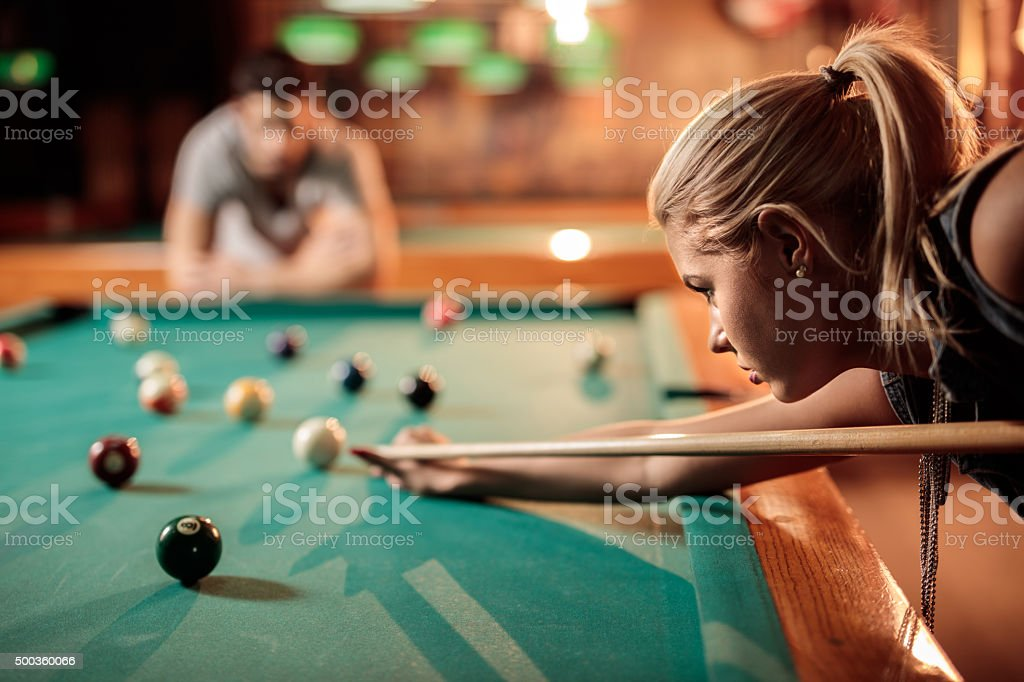 Profile View Of A Young Woman Aiming At Pool Ball Stock Photo   More ... aa841b0003