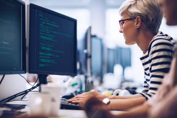 Profile view of young female programmer working on computer software in the office. stock photo