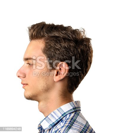 istock Profile view of young man isolated on white background 1169894248