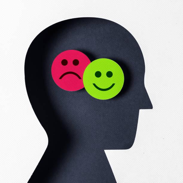 profilansicht positive und negative emotionen - feedback stock-fotos und bilder