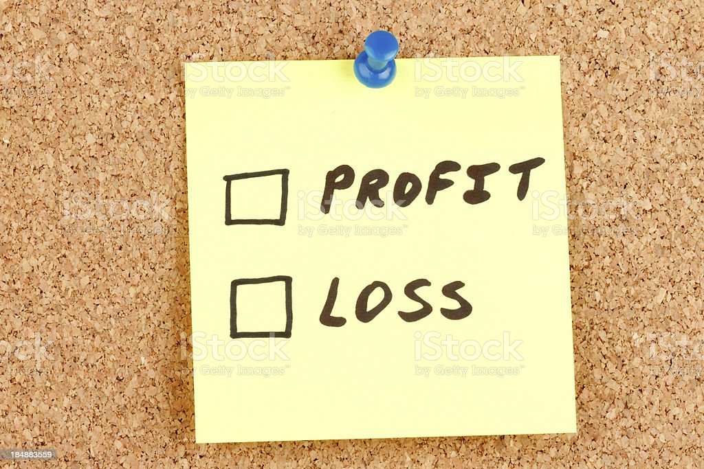 Profit and Loss Checkboxes on an Adhesive Note royalty-free stock photo