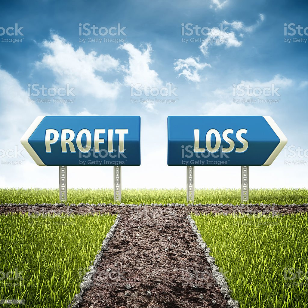 profit and loss crossroad stock photo