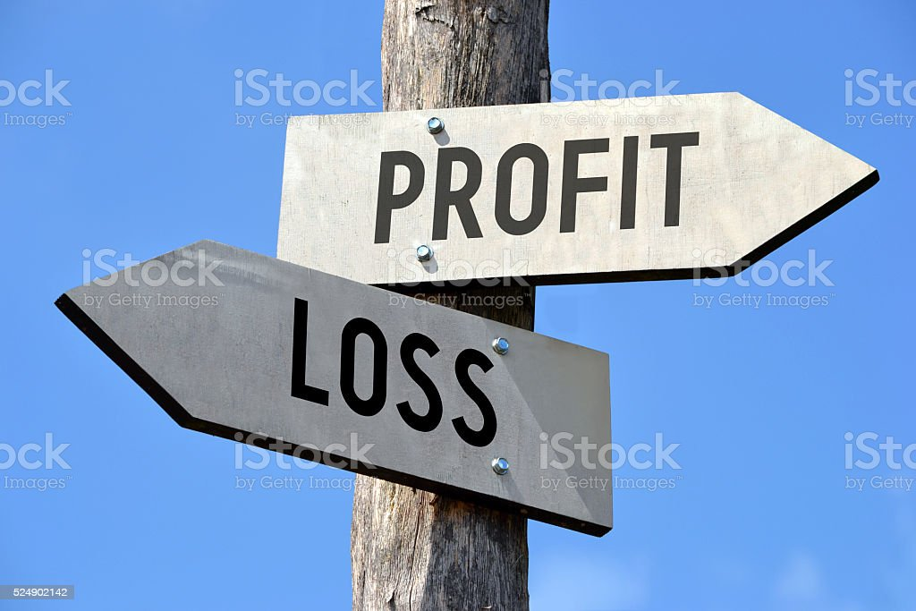 Profit and loss signpost stock photo