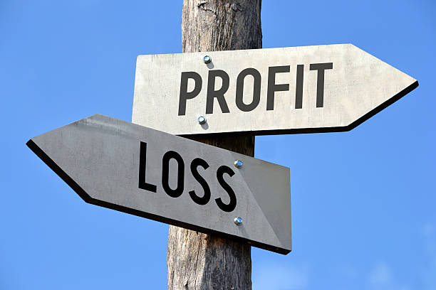 profit and loss signpost - loss stock photos and pictures