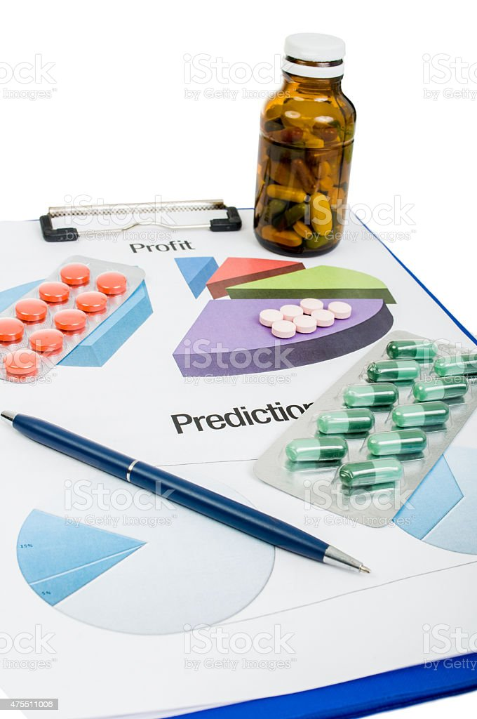 Profit and prediction for pills companies stock photo