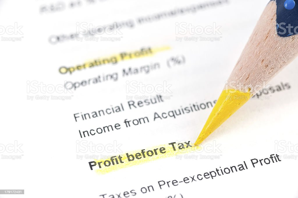 profit before tax highligted in balance sheet royalty-free stock photo