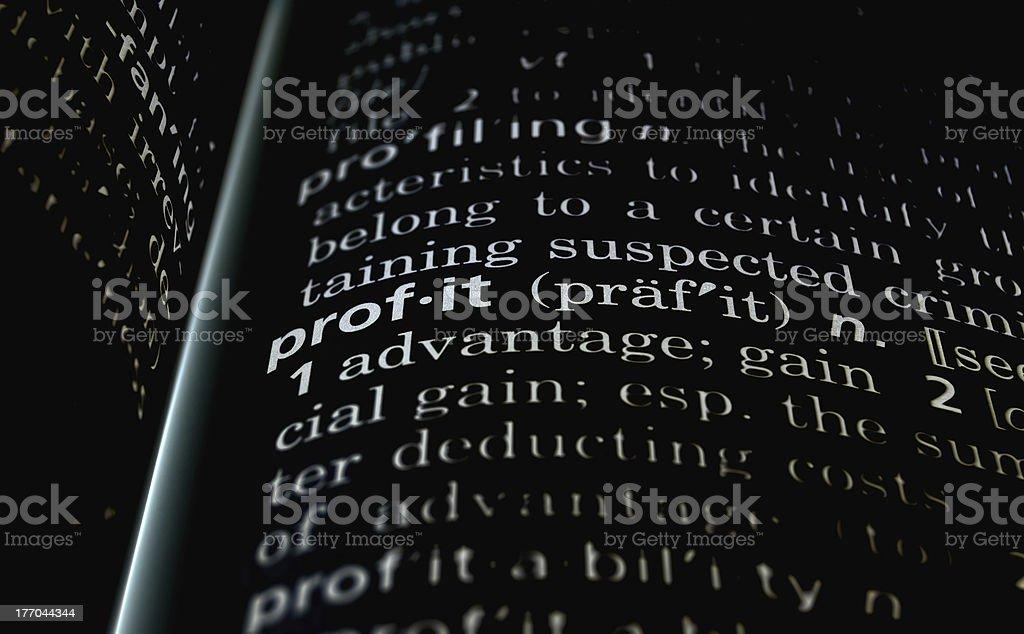 Profit Defined on Black royalty-free stock photo