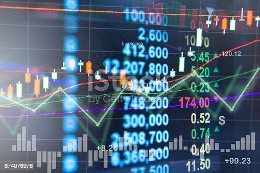 istock Profit graph of stock market indicator. 674076976