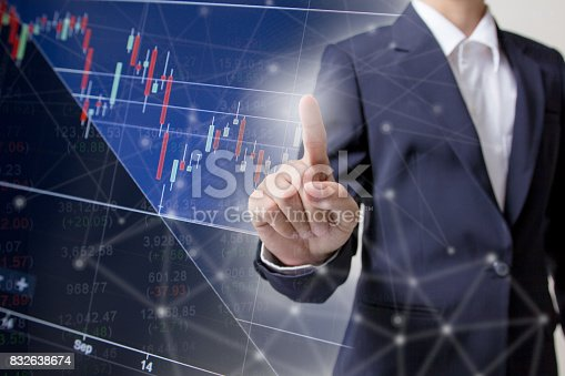 586932042 istock photo Profit graph of stock market indicator with hand shake background. Abstract stock data concept. Stock financial statistic graph analysis. Financial fund trade overview in profit graph. Concept Finance 832638674