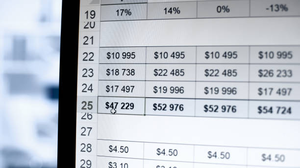 Profit growth table by quarter in on-line registry, company income statistics stock photo
