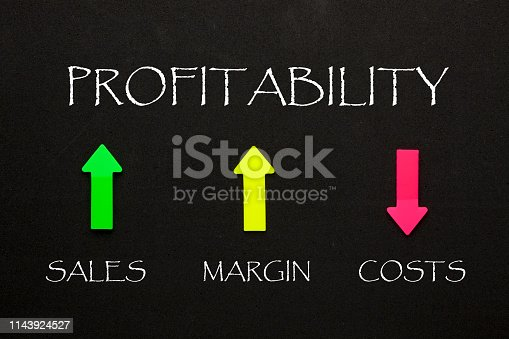 Profitability and colorful arrows with conceptual words on black background. Business concept