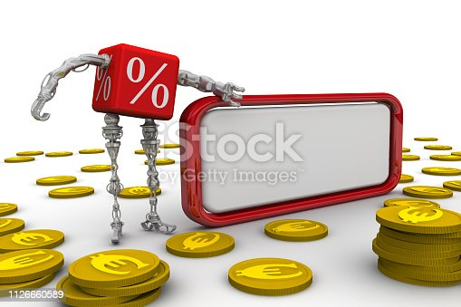 Cyborg in the form of a red cube with symbols of percentage stay near blank text box on white surface and gold coins with symbol of EU currency. Isolated. 3D Illustration