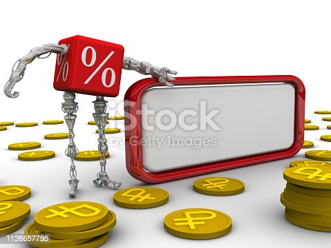 Cyborg in the form of a red cube with symbols of percentage stay near blank text box on white surface and gold coins with symbol of Russian ruble. Isolated. 3D Illustration
