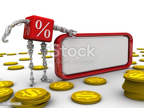 Cyborg in the form of a red cube with symbols of percentage stay near blank text box on white surface and gold coins with symbol of USA dollar. Isolated. 3D Illustration