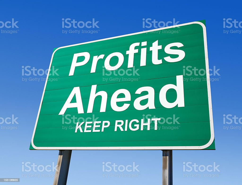Profits Ahead Highway Exit Sign royalty-free stock photo