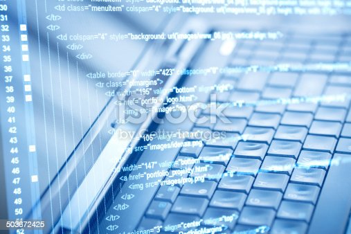 istock Program code and computer keyboard 503672425