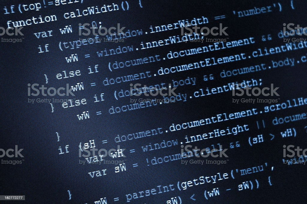 Program code, HTML and JavaScript on LCD screen royalty-free stock photo