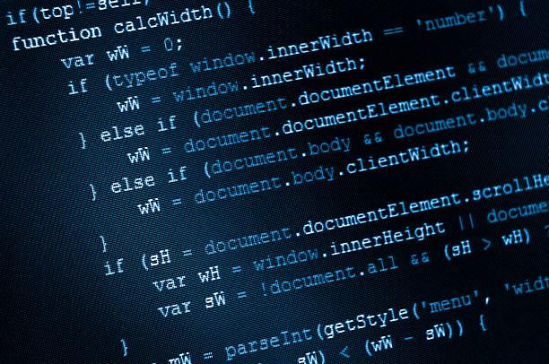 programa código html y javascript en la pantalla lcd - website design fotografías e imágenes de stock