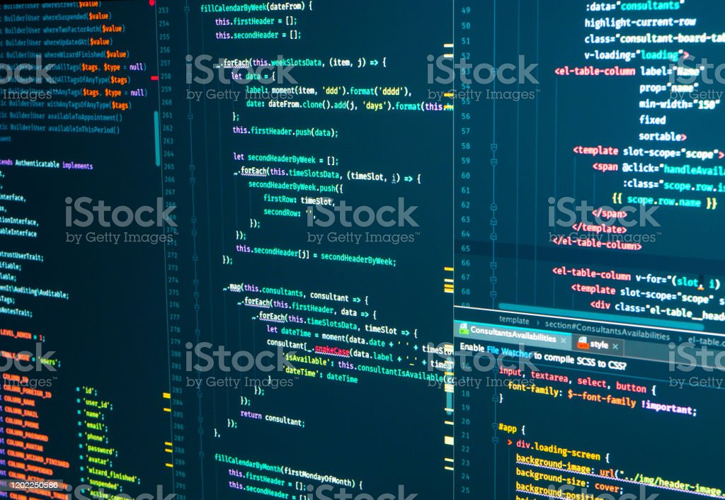 Program code Javascript, PHP, HTML, CSS of site. Web development. Programmer workflow. Source code script Program code Javascript, PHP, HTML, CSS of site. Web development. Source code script. Programmer workflow Abstract Stock Photo