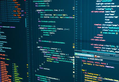 Program code Javascript, PHP, HTML, CSS of site. Web development. Source code script. Programmer workflow