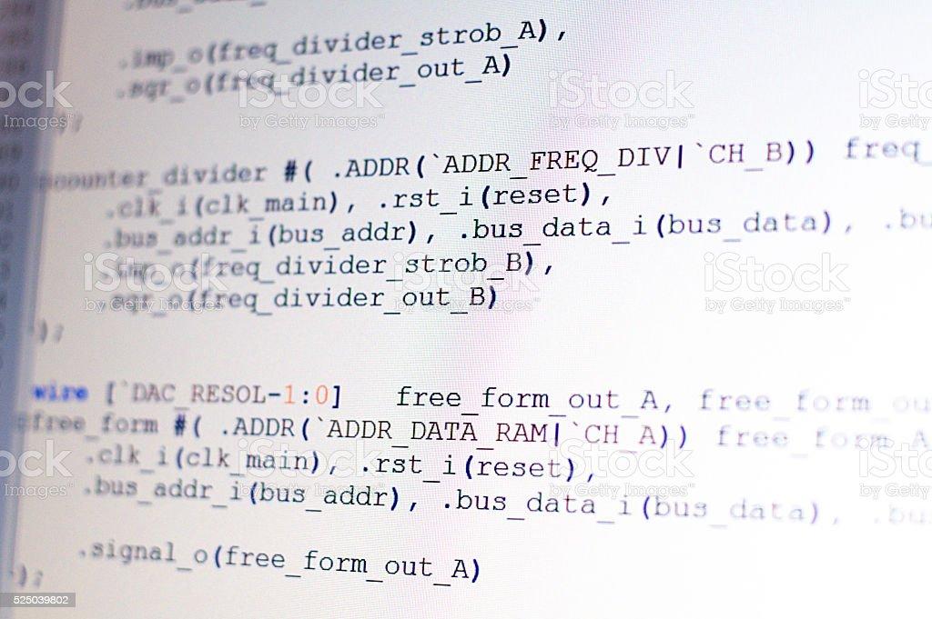 Program coding on light display stock photo