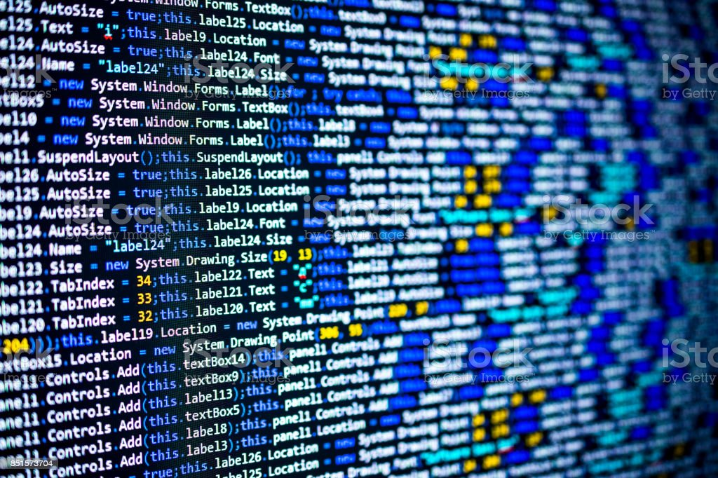 Program source code on black background concept stock photo