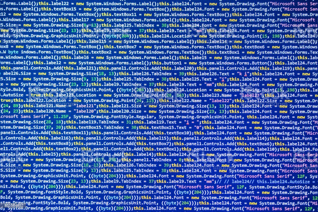 Program source code on blue background concept stock photo
